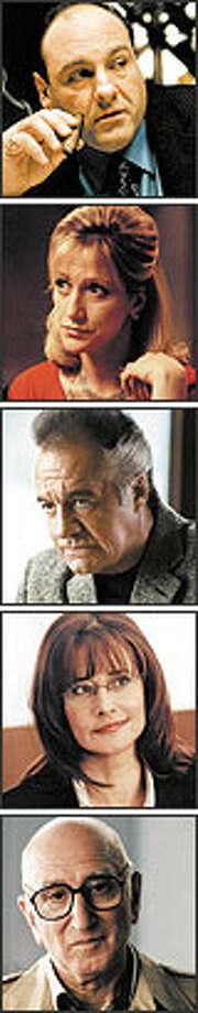 """The Sopranos"" cast stars (from top): James Gandolfini as Tony Soprano, Edie Falco as Carmela Soprano, Tony Sirico as Paulie Walnuts, Lorraine Bracco as Dr. Jennifer Melfi and Dominic Chianese as Corrado Soprano, aka ""Uncle Junior."""