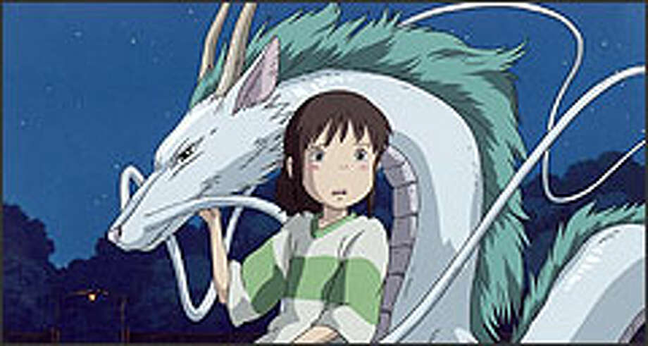 "In ""Spirited Away,"" 10-year-old Chihiro tries to find her parents in a strange world, where she meets magical creatures such as Haku, left, a mysterious youth who can turn into a dragon."