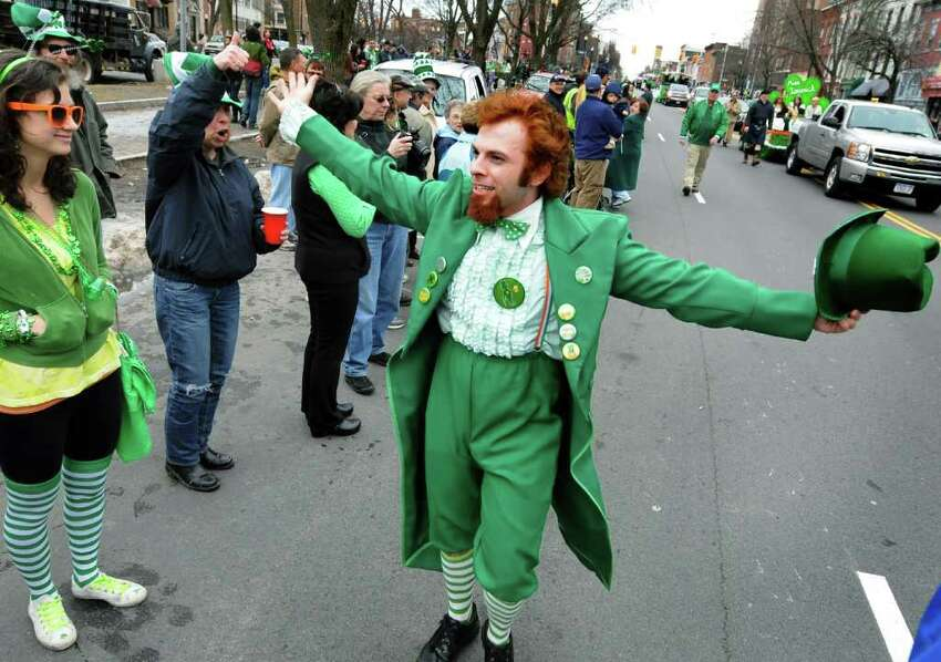 Gary Robusto of Guilderland, dressed as a leprechaun, greets the parade goers during the annual St. Patrick's Parade on Saturday, March 12, 2011, in Albany, N.Y. (Cindy Schultz / Times Union)