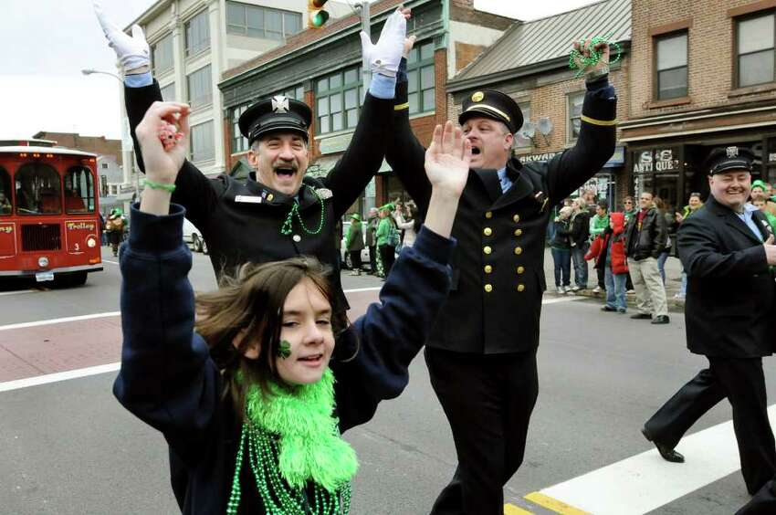 Firefighters and friends get in the spirit during the annual St. Patrick's Parade on Saturday, March 12, 2011, in Albany, N.Y. (Cindy Schultz / Times Union)
