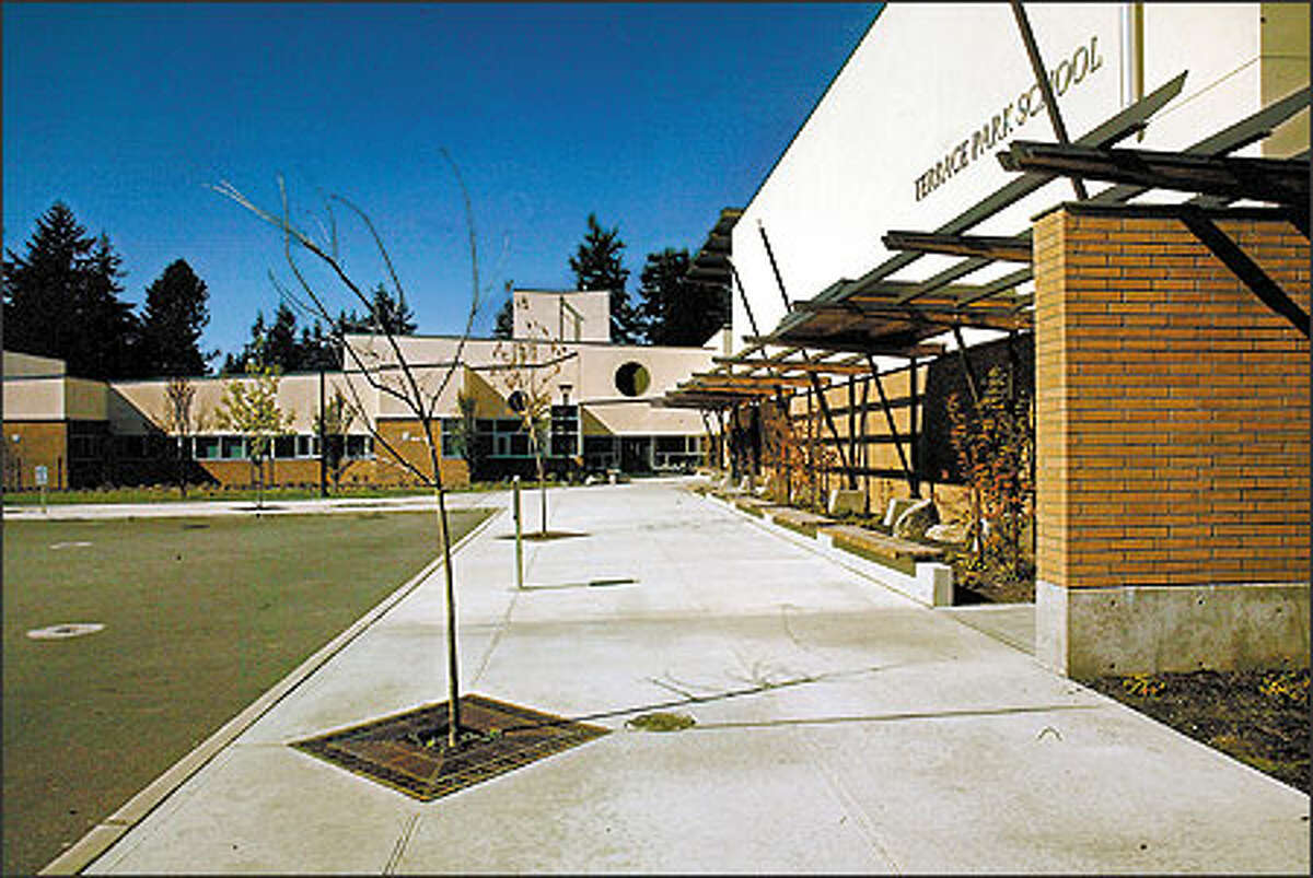 This is the view of Terrace Park School's entrance in Mountlake Terrace. To make the 700-student school less intimidating, there are five neighborhoodlike clusters with six classrooms around a shared flexible space.