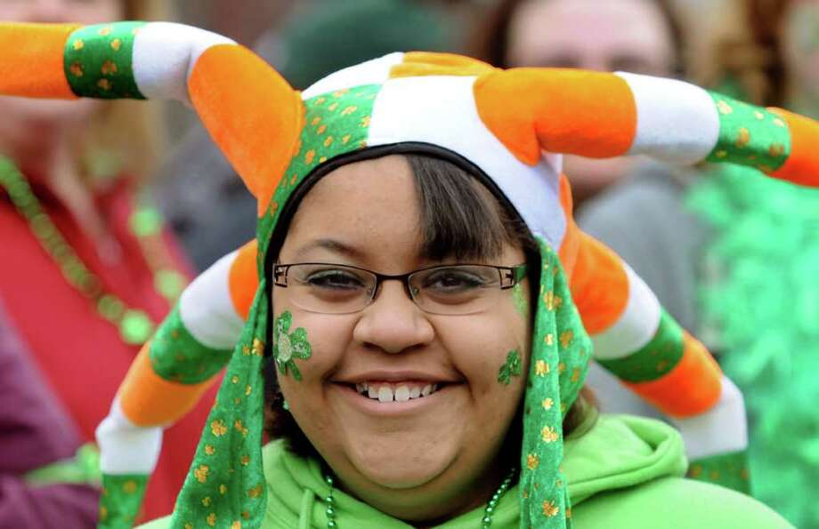 Tamerra Wilkins, 14, of Albany wears her festive hat during the annual St. Patrick's Parade on Saturday, March 12, 2011, in Albany, N.Y. (Cindy Schultz / Times Union) Photo: Cindy Schultz