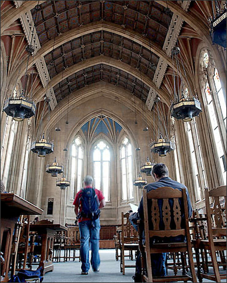 The reading room at the UW's Suzzallo Library is open to students again after a two-year renovation project. The library officially opened yesterday. Photo: Jeff Larsen/Seattle Post-Intelligencer