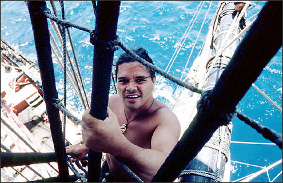 Mariao Hohaia, a shipmate on the Endeavour, climbs the ratlines on a replica of explorer James Cook's ship. Photo: / BBC Worldwide/The History Channel