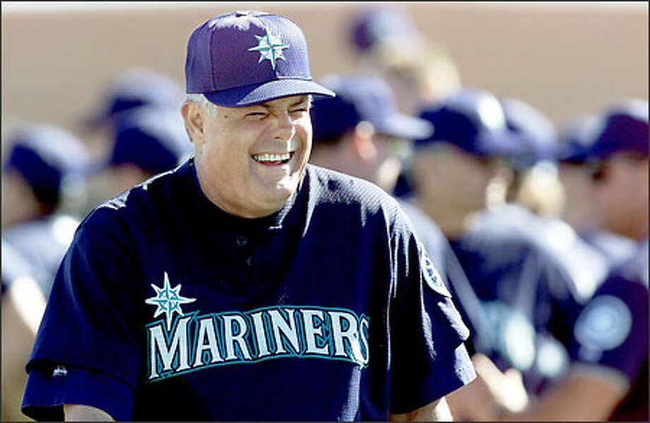 Lou Piniella laughs it up in February during what would turn out to be his final spring training with the Mariners. Photo: Dan DeLong/Seattle Post-Intelligencer