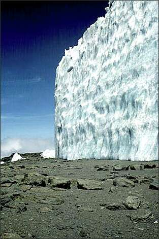 The Furtwangler ice wall on Mount Kilimanjaro is quickly shrinking, according to new studies by Ohio State and the University of Massachusetts. Photo: / Associated Press