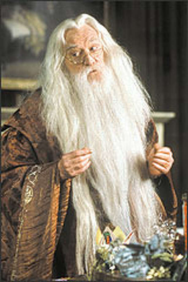 "Richard Harris as the headmaster Professor Albus Dumbeldore in the two ""Harry Potter"" movies made so far."