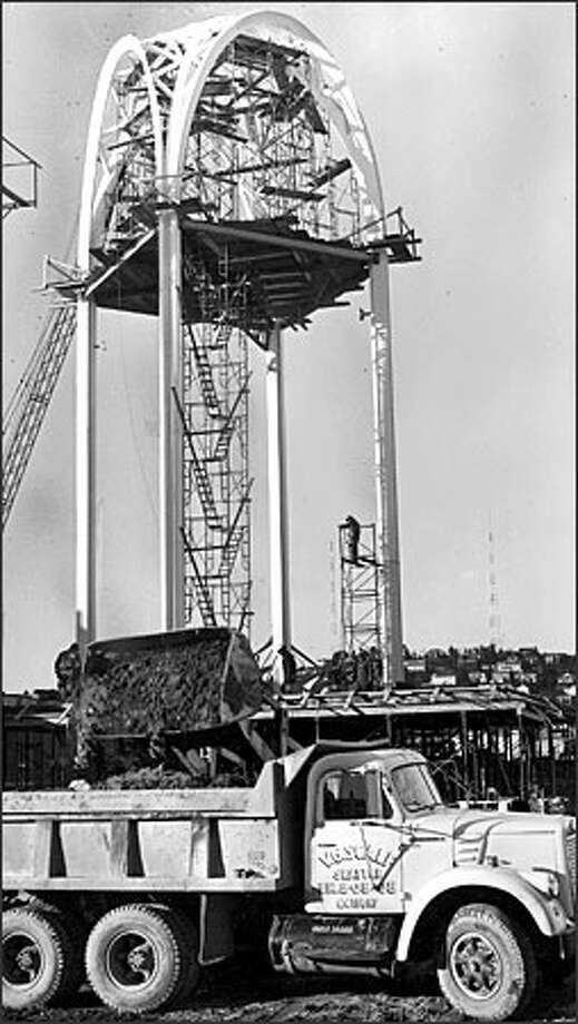"More than 40 years ago, construction was under way on the space-oriented Science Pavilion for the 1962 ""Century 21"" World's Fair in Seattle. The facility went on to become the non-profit, educational Pacific Science Center. Photo: / P-I File"