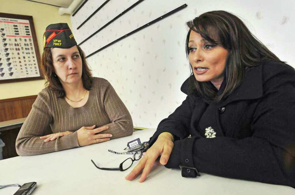 In this Feb. 20, 2011 photo, Veterans of Foreign Wars West Seneca Post 12097 members Marlene Roll and Renee DeRouche speak about the importance of women's issues within the VFW before their monthly meeting in West Seneca, N.Y., a suburb of Buffalo. West Seneca Post 12097 is the first women's VFW Post in the United States. (AP Photo/Dan Cappellazzo)
