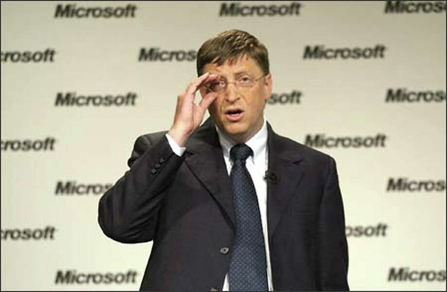 Microsoft Chairman Bill Gates avoided gloating in talking with reporters yesterday about the judge's ruling. Photo: Gilbert W. Arias/Seattle Post-Intelligencer
