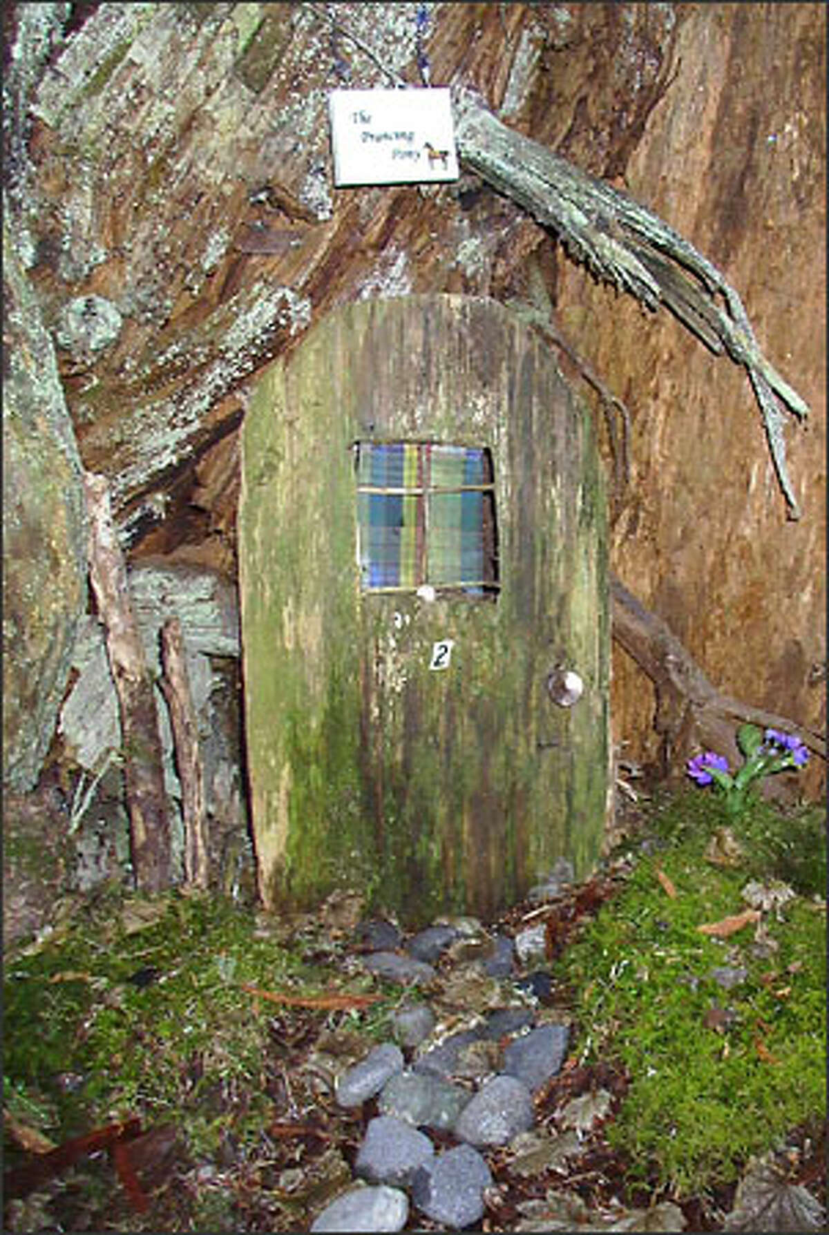 The Hobbit House, a structure fashioned from a stump, is tucked away in the midst of evergreens and salal.