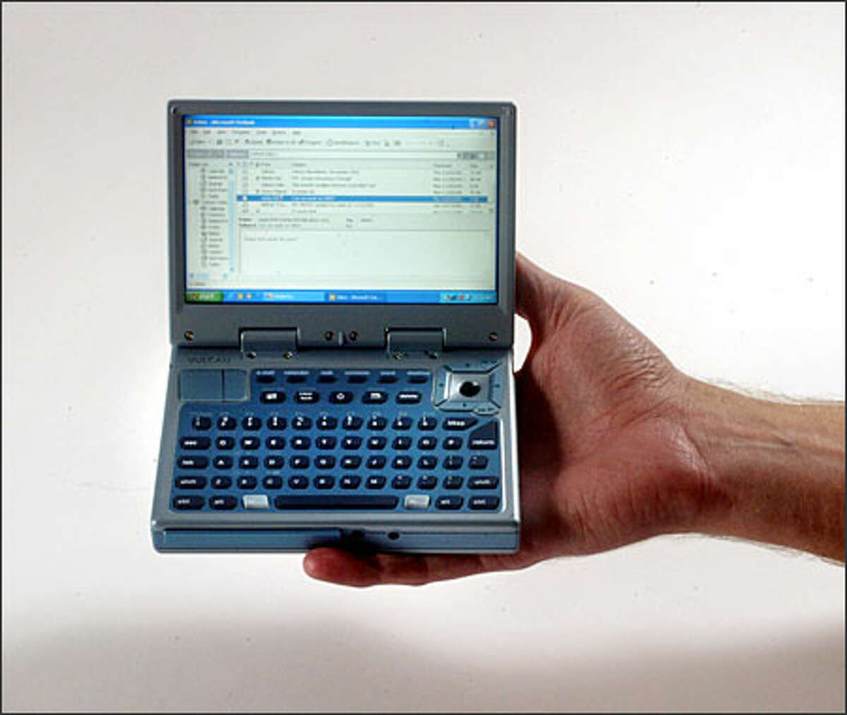 The Mini-PC is about half the size of a small laptop. No makers for the machine have been named yet.