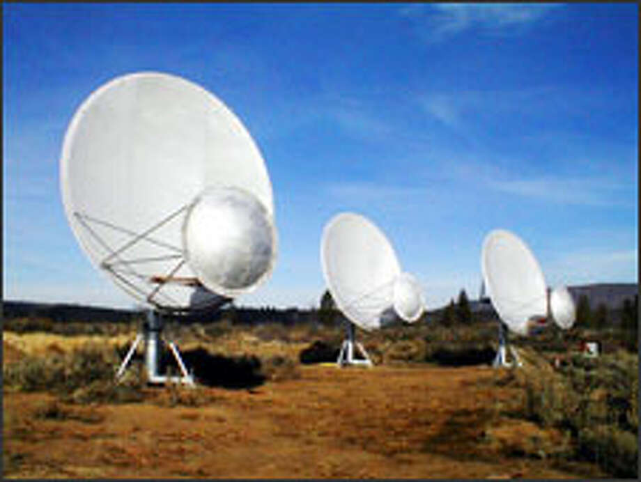 Initial tests of the three radio telescopes erected so far at Hat Creek in Northern California, backed by funding from Paul Allen, appear to show that the SETI technology works. Photo: SETI Institute