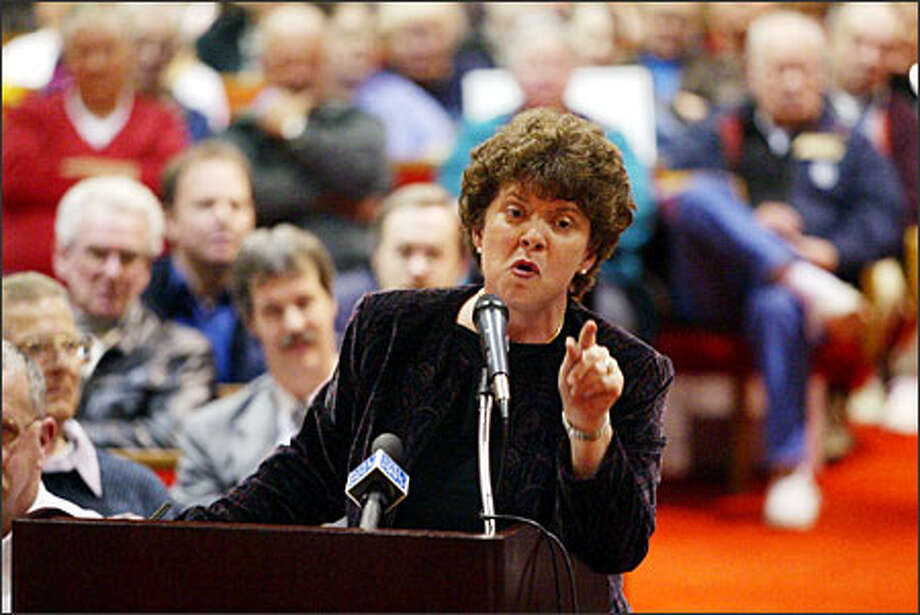 Volatile Pierce County Council member Pam Roach has been on the outs with fellow Republicans in the Legislature, and now with colleagues on the council. She has run for a lot of offices, however, and came close in a 1992 U.S. House race.  Photo: Mike Urban/Seattle Post-Intelligencer