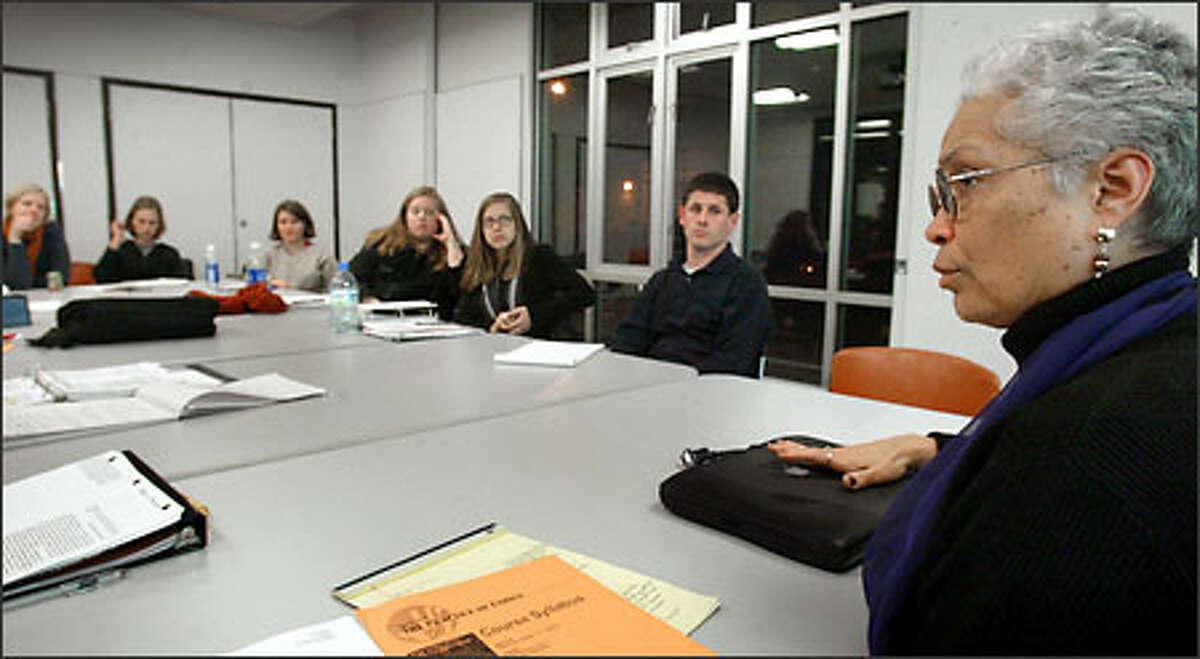 University of Washington professor Sharon Sutton conducts a class on ethics.