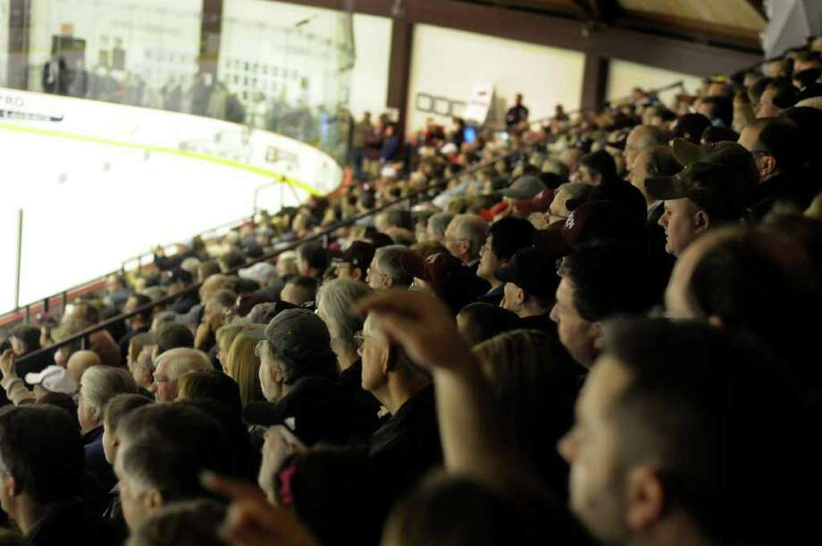 Union fans cheer against Colgate during the first period of Game 2 of an ECAC quarter finals playoff series hockey game at Union College in Schenectady, N.Y., Saturday March 12, 2011. (Hans Pennink / Special to the Times Union) College Sports Photo: Hans Pennink
