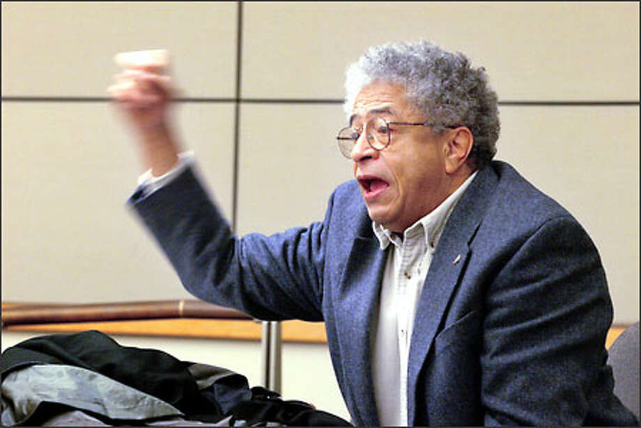 Seattle University law professor Henry McGee Jr. makes his point yesterday that affirmation action should be discussed campuswide. Photo: Grant M. Haller/Seattle Post-Intelligencer