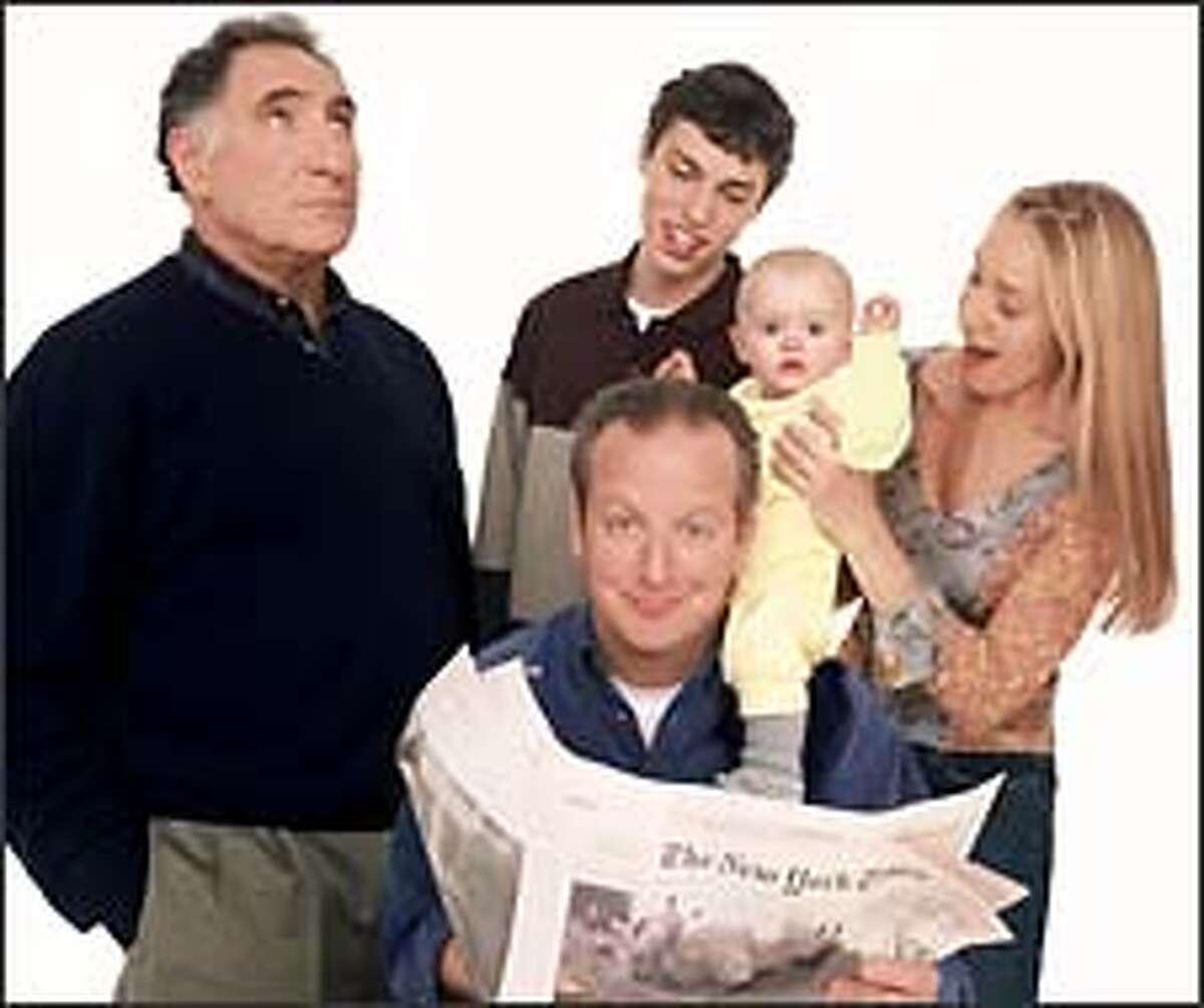"The ""Regular Joe"" cast, from left, Judd Hirsch, Daniel Stern, John Francis Daley, Alana and Kelalani Mcauliffe playing baby Zoe and Kelly Karbacz."