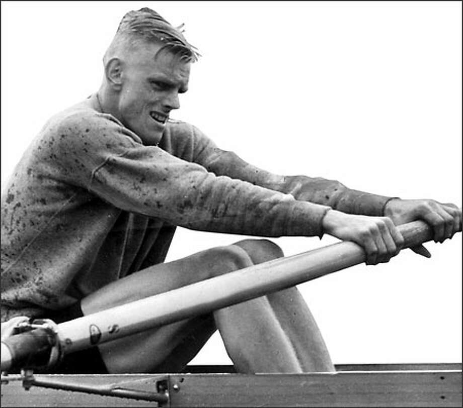 Ted Garhart, a member of the National Rowing Foundation Hall of Fame, never lost a varsity eight race in his three years at Washington -- an unequaled feat -- and stroked the Huskies to IRA national titles in 1941 and '42. Photo: / P-I File