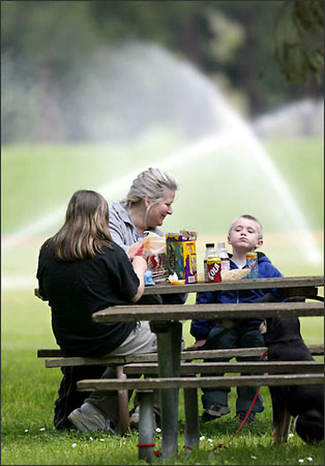 """""""I hope they vote yes so we can continue to come here,"""" says Cyndy Johnson of Kirkland, who was having lunch with her children, Roxannne O'Keefe, 12, and Jared Johnson, 4, and dog Scooter at Marymoor Park yesterday. Photo: Karen Ducey/Seattle Post-Intelligencer"""