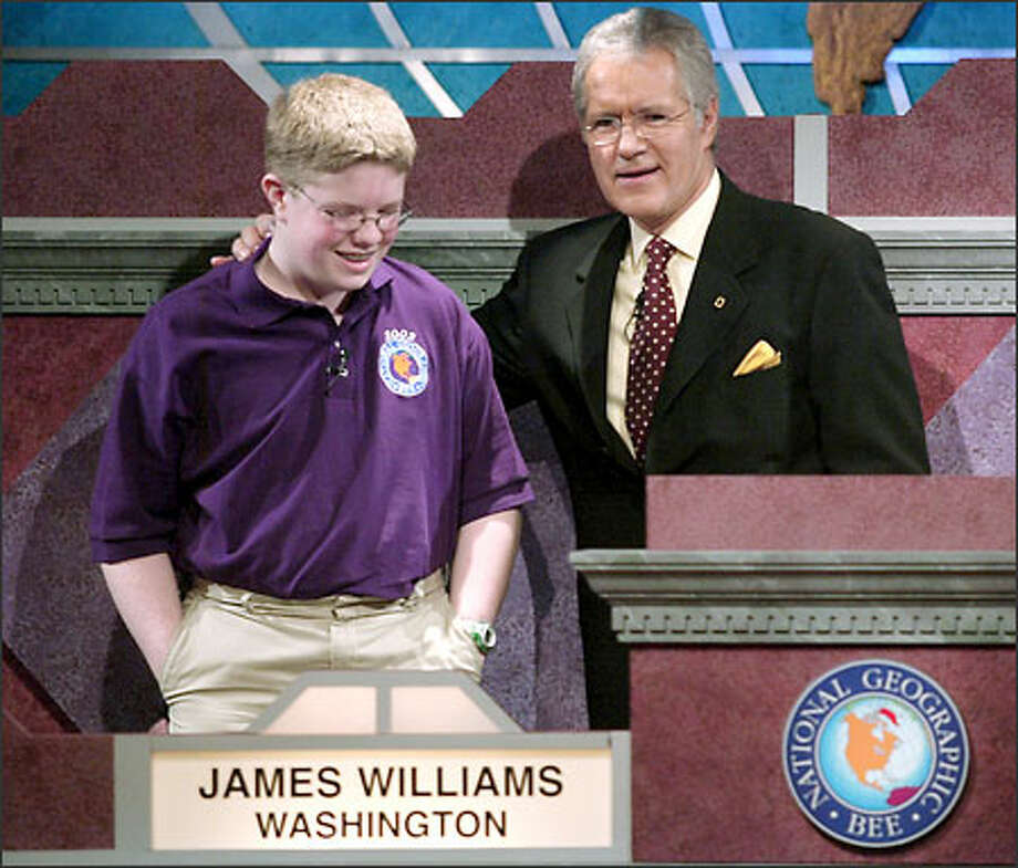 James Williams of Vancouver, Wash., knows where it's at in geography. By knowing that Goa in India was formerly a colony of Portugal, he won the National Geographic Bee yesterday, with Alex Trebek as host. Photo: / Associated Press
