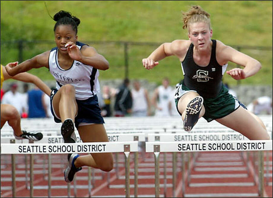 Skyline's Christina Tupper (14.9 seconds), right, and Interlake's Dana Allen (15.01) have turned in the state's best times in the 100-meter hurdles this year. Photo: Grant M. Haller/Seattle Post-Intelligencer