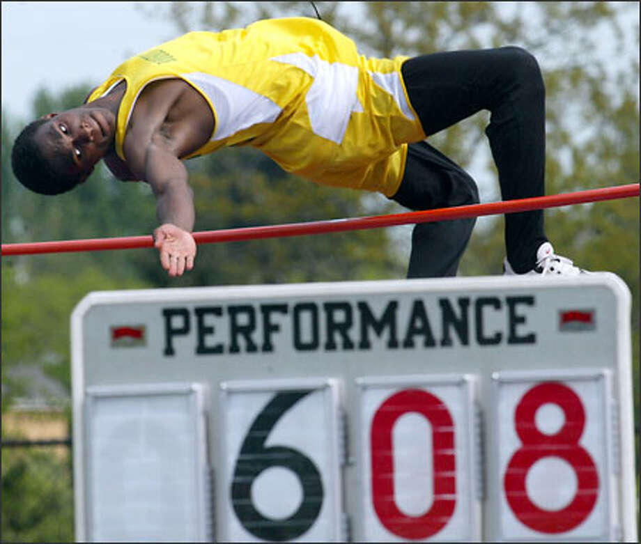 Roosevelt junior Norris Frederick shares the state lead in the high jump this year at 6 feet 10, and is third in the long jump at 22-9 1/4. Photo: Grant M. Haller/Seattle Post-Intelligencer