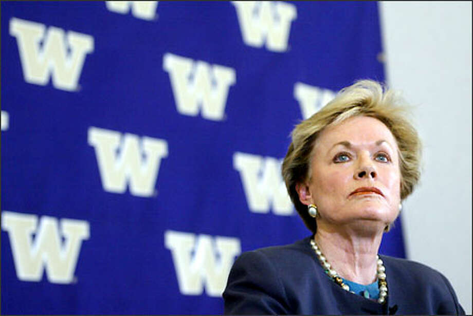 University of Washington athletic director Barbara Hedges takes questions at a news conference yesterday after she announced the dismissal of football head coach Rick Neuheisel. Photo: Paul Joseph Brown/Seattle Post-Intelligencer