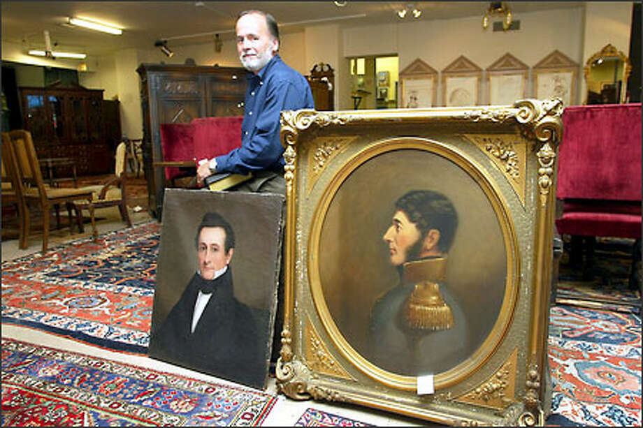 Tom Kellogg is auctioning family heirlooms -- including the painting at right of Peter Peyre Ferry, an officer in Napoleon's Army -- at Seattle's Pacific Galleries. Photo: Meryl Schenker/Seattle Post-Intelligencer