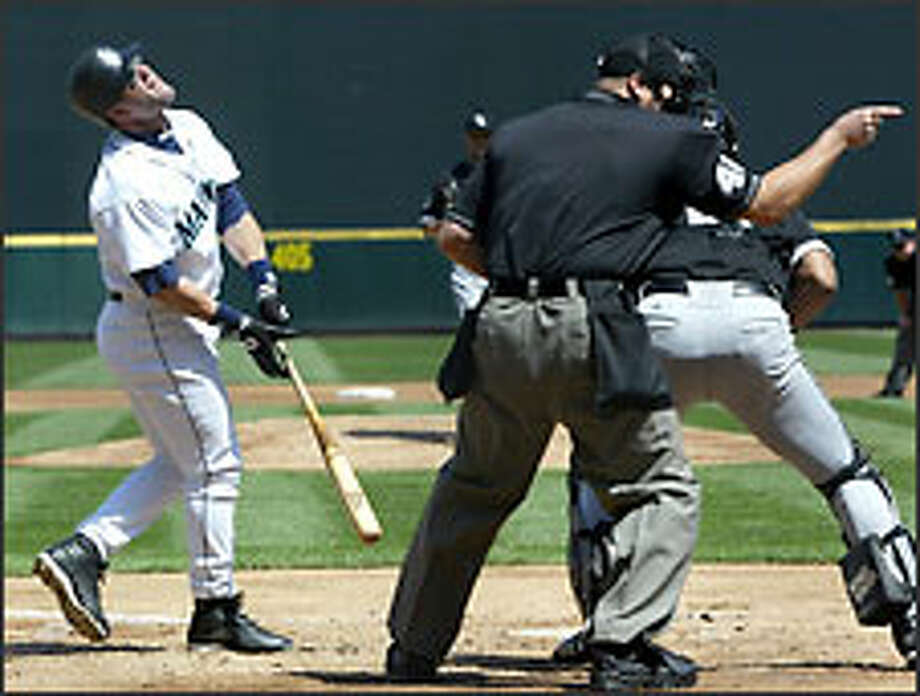 This season, Mariners designated hitter Edgar Martinez is hitting .362 on the road and .239 at Safeco Field. His slugging percentage is .298 points lower at home. Photo: KAREN DUCEY/P-I