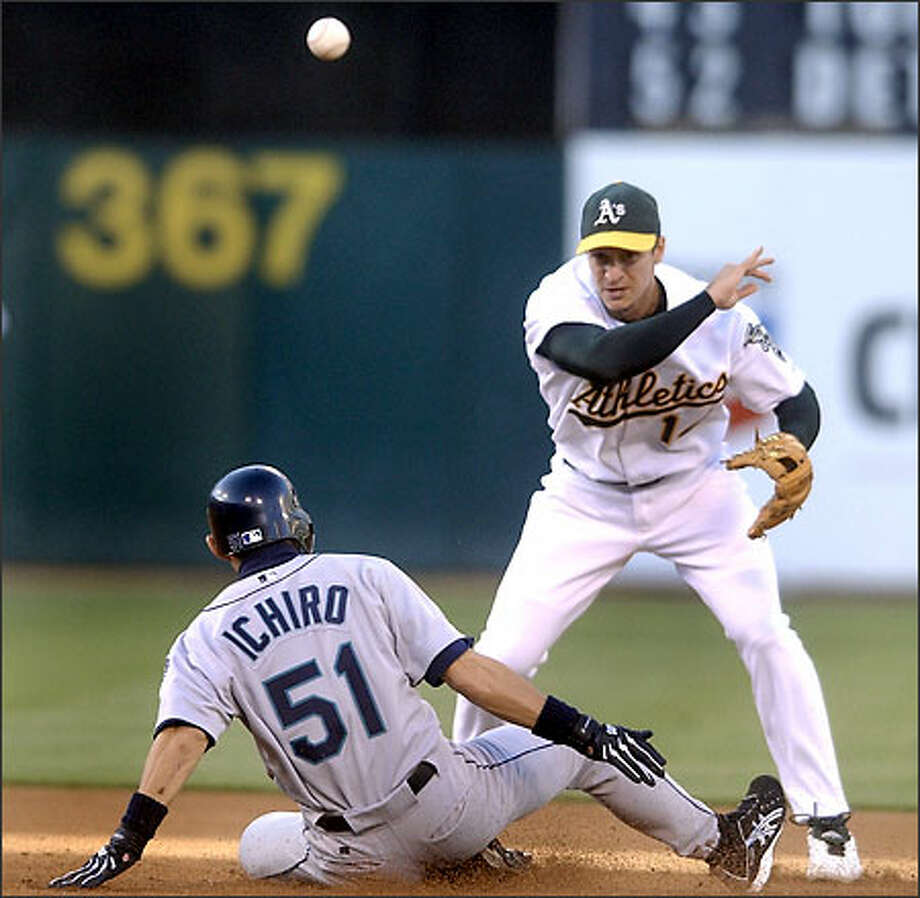 Oakland second baseman Mark Ellis turns a double play as Ichiro Suzuki slides into the bag in the first inning. Photo: JULIE JACOBSON/AP