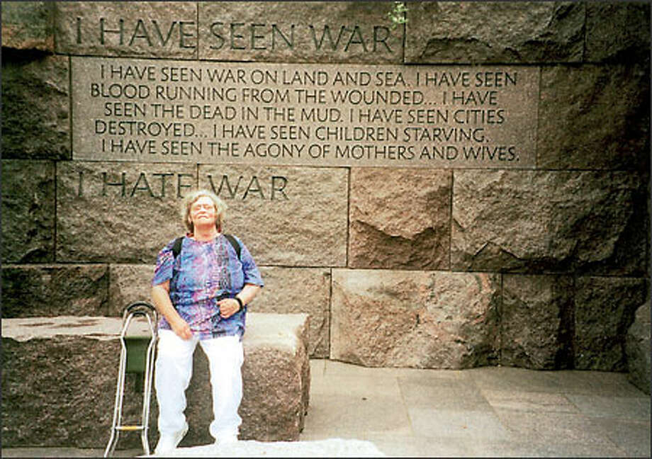 Carol Hoyt at the Roosevelt Memorial in Washington, D.C., in 2001. She said she was the most liberal Republican who ever lived. Photo: /