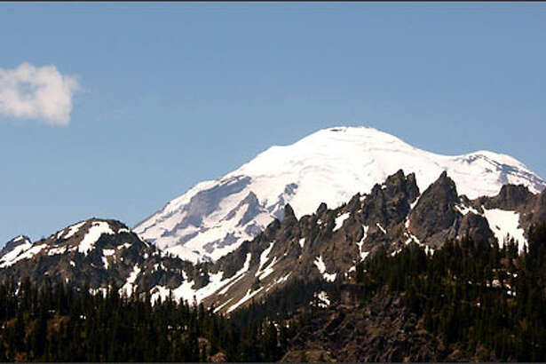 A shot of Mount Rainier from the Chinook Pass highway shows why the mountain is a favorite of photographers.