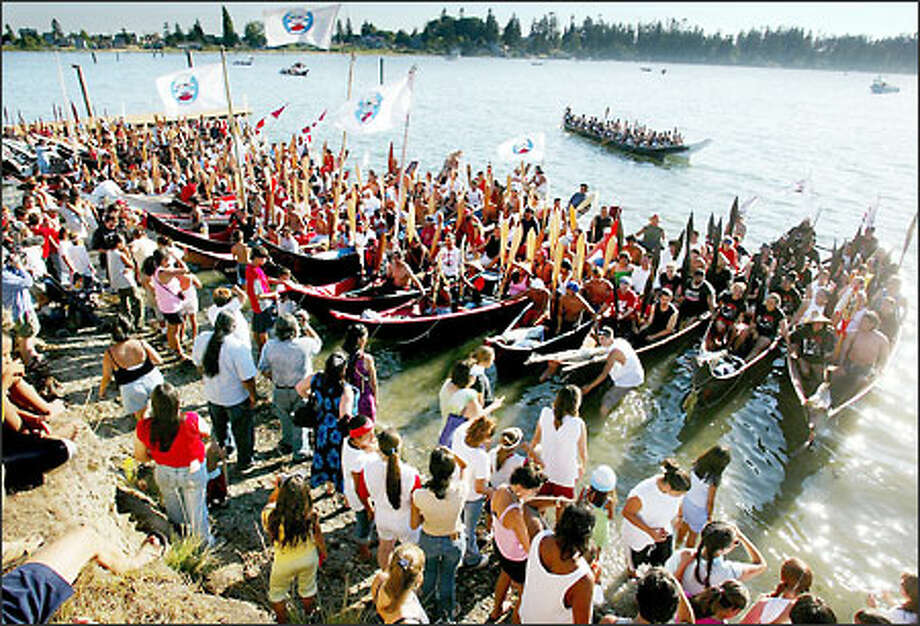Indian tribal canoes from throughout the Northwest and Western Canada arriving at Tulalip for a week of feasting, dancing and healing. The vessels arrived yesterday afternoon, and occupants received a warm welcome. Photo: Paul Joseph Brown/Seattle Post-Intelligencer