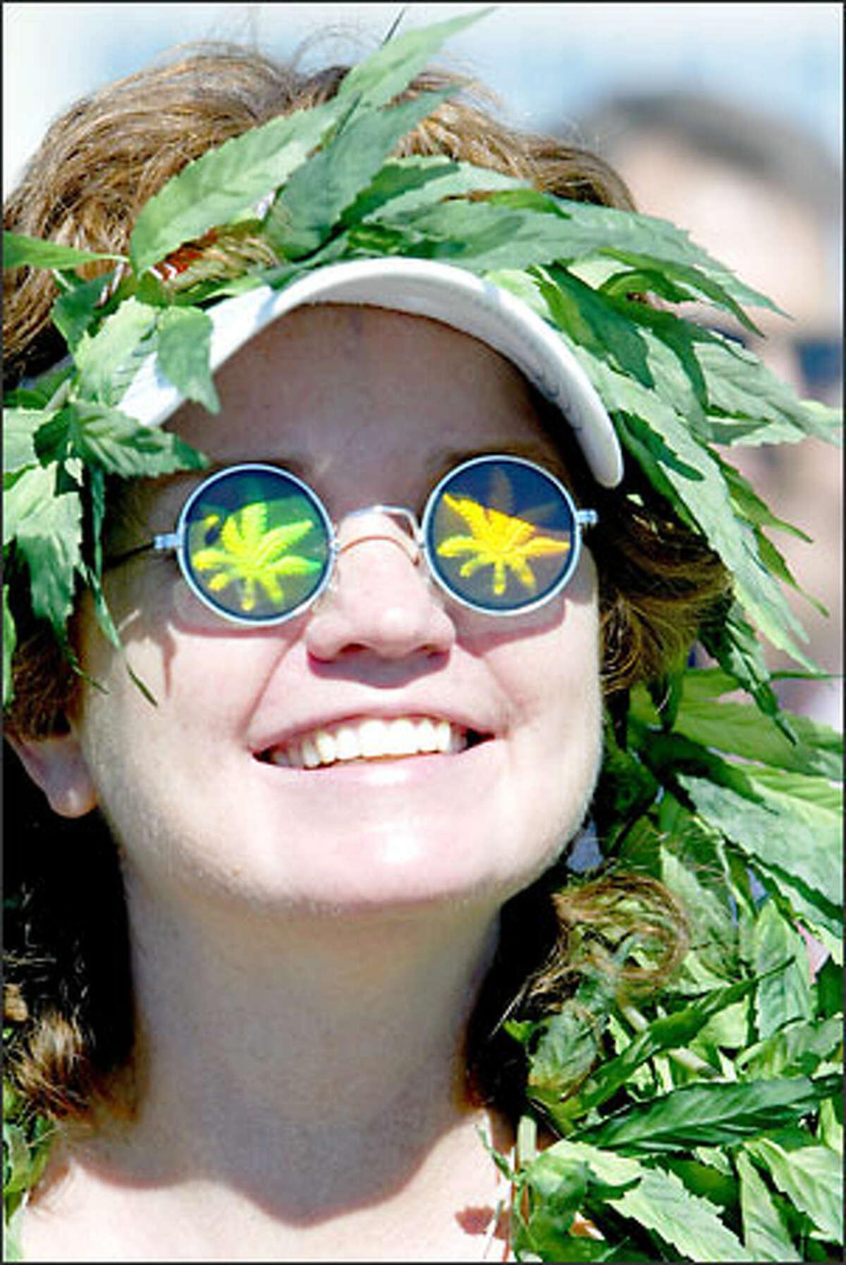 Kitty Barbieto of Gold Bar soaks up Hempfest at Myrtle Edwards Park. She said she supports legalization of marijuana.