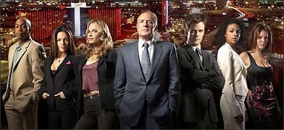"""Las Vegas"" is set for surveillance action. From left: James Lesure, Vanessa Marcil, Molly Simms, James Caan, Josh Duhamel, Marsha Thomason, Nikki Cox. Photo: NBC"