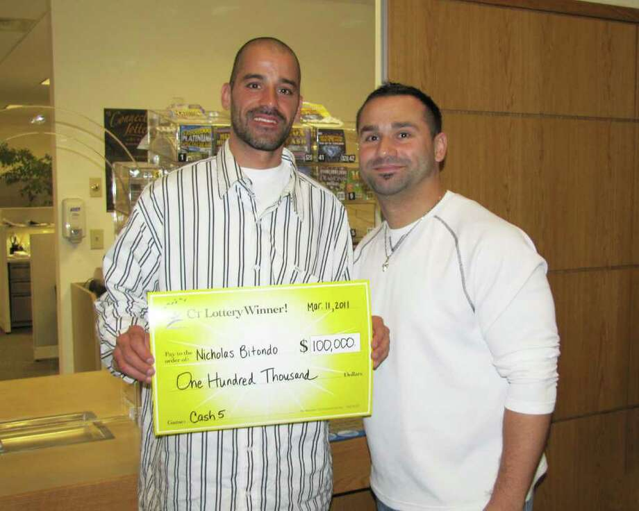 Lottery winner Nick Bitondo of Norwalk, and his lifetime friend Jimmy Panagiotides. Photo: Contributed Photo / Norwalk Citizen