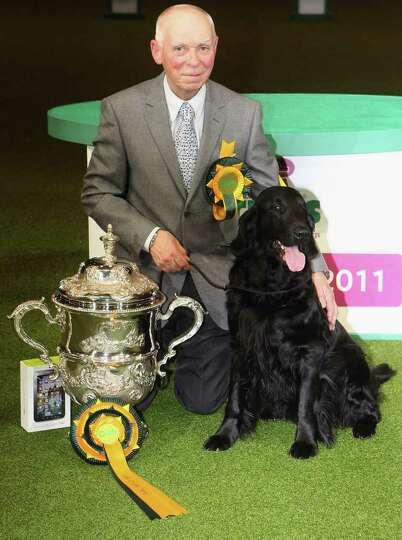 BIRMINGHAM, ENGLAND - MARCH 13:  Jet, a Flatcoated Retriever dog and handler Jim Irvine celebrate af