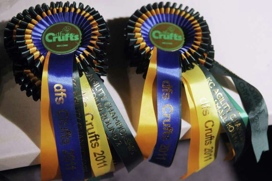 BIRMINGHAM, ENGLAND - MARCH 13:  Crufts rosettes for agility championships await to be awarded on the final day of the annual Crufts dog show at the National Exhibition Centre on March 13, 2011 in Birmingham, England. During this year's four-day competition nearly 22,000 dogs and their owners will vie for a variety of accolades, ultimately seeking the coveted 'Best In Show'.  (Photo by Oli Scarff/Getty Images) Photo: Oli Scarff