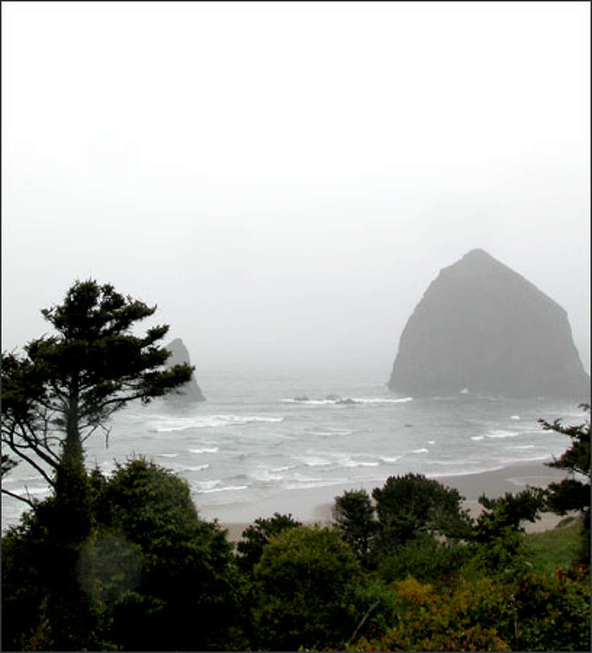 Haystack Rock looms in the background at Cannon Beach.