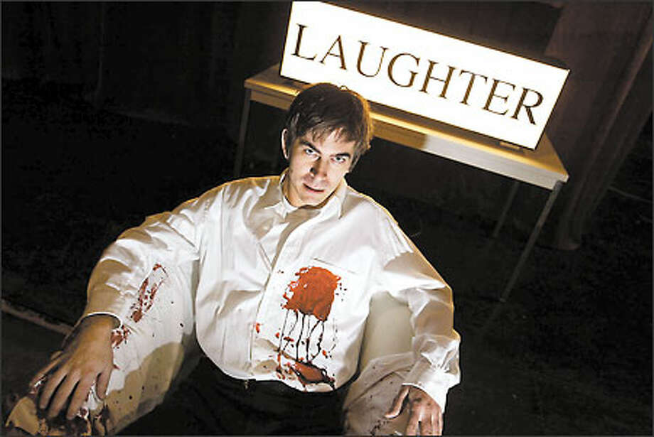 """Greg Lundgren obligingly doused himself with fake blood for a photo portrait on the set of his play """"I Am an Artist."""" Consolidated Works is presenting a premiere of the two-hour play he wrote eight years ago. Photo: Scott Eklund/Seattle Post-Intelligencer"""