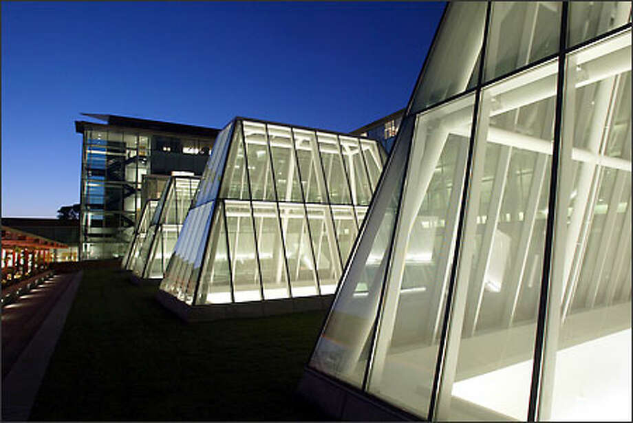 At dusk, the distinct skylights of William H. Gates Hall shine brightly from light in the new Marian Gould Gallagher Law Library directly below. Photo: Dan DeLong/Seattle Post-Intelligencer