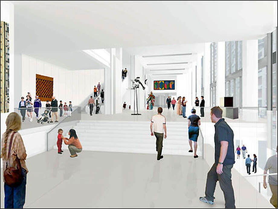 This architect's rendering shows the entry to the new Seattle Art Museum expansion, to be built in conjunction with Washington Mutual Bank. Photo: Allied Works Architecture