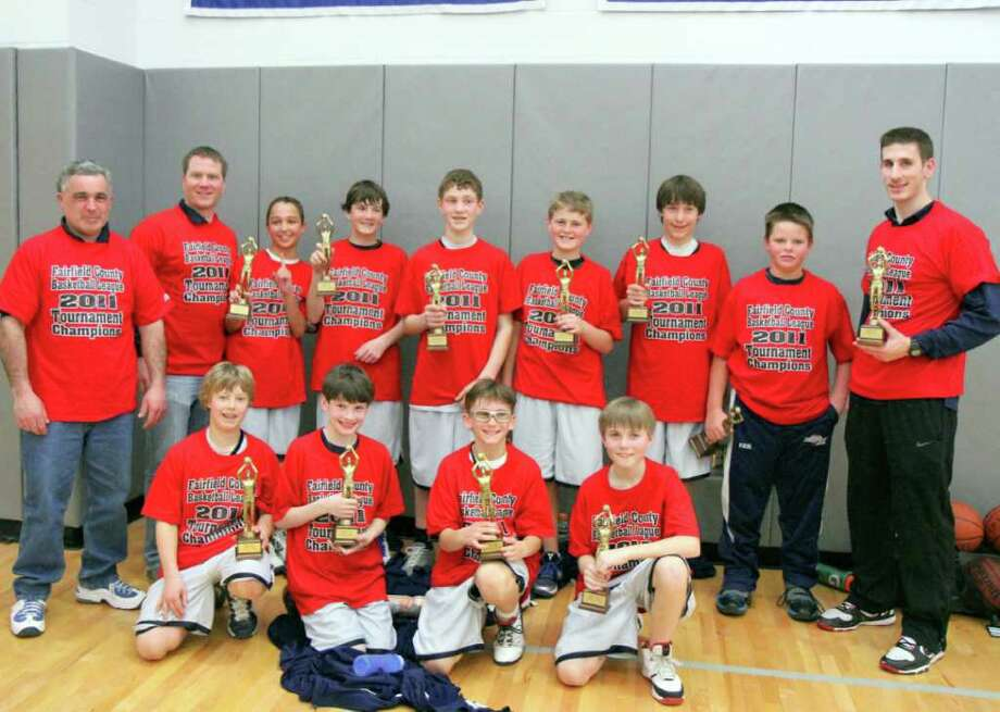 The Westport PAL 6th grade boys team won the Fairfield County Basketball A League tournament title with a 52-40 win over New Canaan Black. Team member, front row, from left, are, Tripp Backus, Fritz Schemel, Danny Jersey and Kenny Brill; back, Coach Greg Lavalla, Coach Andrew Strauss, Brendan Massoud, Justin Seideman, Ben Casparius, Sean Pritchett, Mack Muller, Matt Fair and Coach Vinnie Rissolo. Photo: Contributed Photo