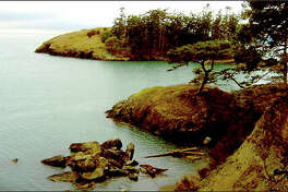 Mossy rocks and gnarled trees accent the Rosario Strait shoreline at Rosario Beach in Deception Pass State Park.