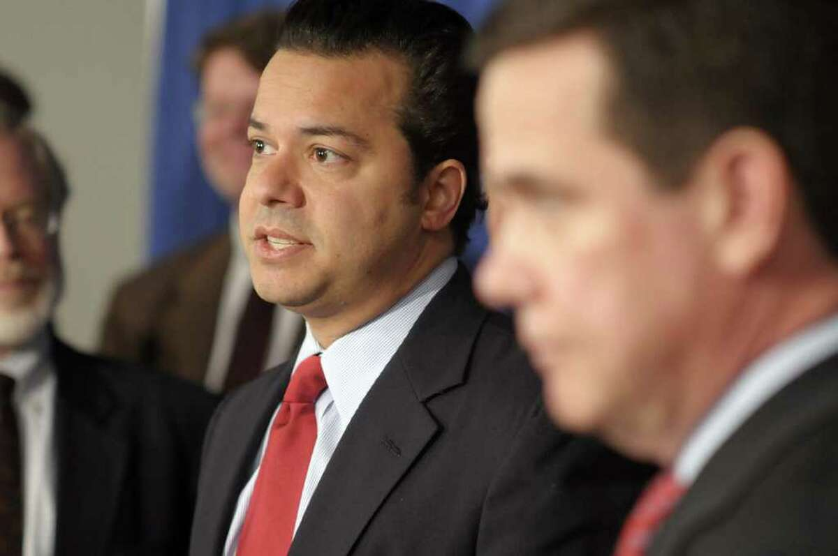 John Avlon, a senior political columnist for The Daily Beast/Newsweek and a CNN contributor and a Citizens Union board member, addresses those gathered during a press event put on by the group Citizens Union at the Legislative Office Building in Albany, NY on Monday, March 14, 2011. Citizens Union held the event to announce the launch the ReShapeNY campaign, composed of bipartisan state and local organizations, to create an independent commission to reform the redistricting process. (Paul Buckowski / Times Union)