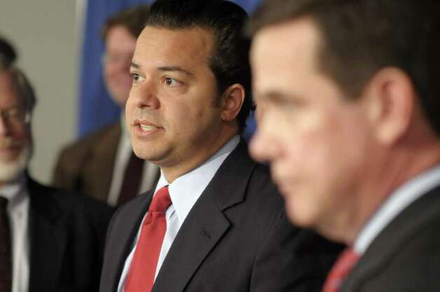 John Avlon, a senior political columnist for The Daily Beast/Newsweek and a CNN contributor and a Citizens Union board member, addresses those gathered during a press event put on by the group Citizens Union at the Legislative Office Building in Albany, NY on Monday, March 14, 2011.  Citizens Union held the event to announce the launch  the ReShapeNY campaign, composed of bipartisan state and local organizations, to create an independent commission to reform the redistricting process.   (Paul Buckowski / Times Union) Photo: Paul Buckowski  / 00012386A