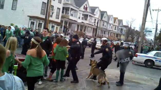 Screen grab from YouTube video showing St. Patrick?s Day riot in Albany, Saturday March 12 2011. (YouTube video)