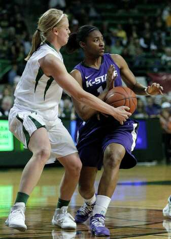 Kansas State guard Stephanie Wittman (right) drives against Baylor on Feb. 23. Photo: AP