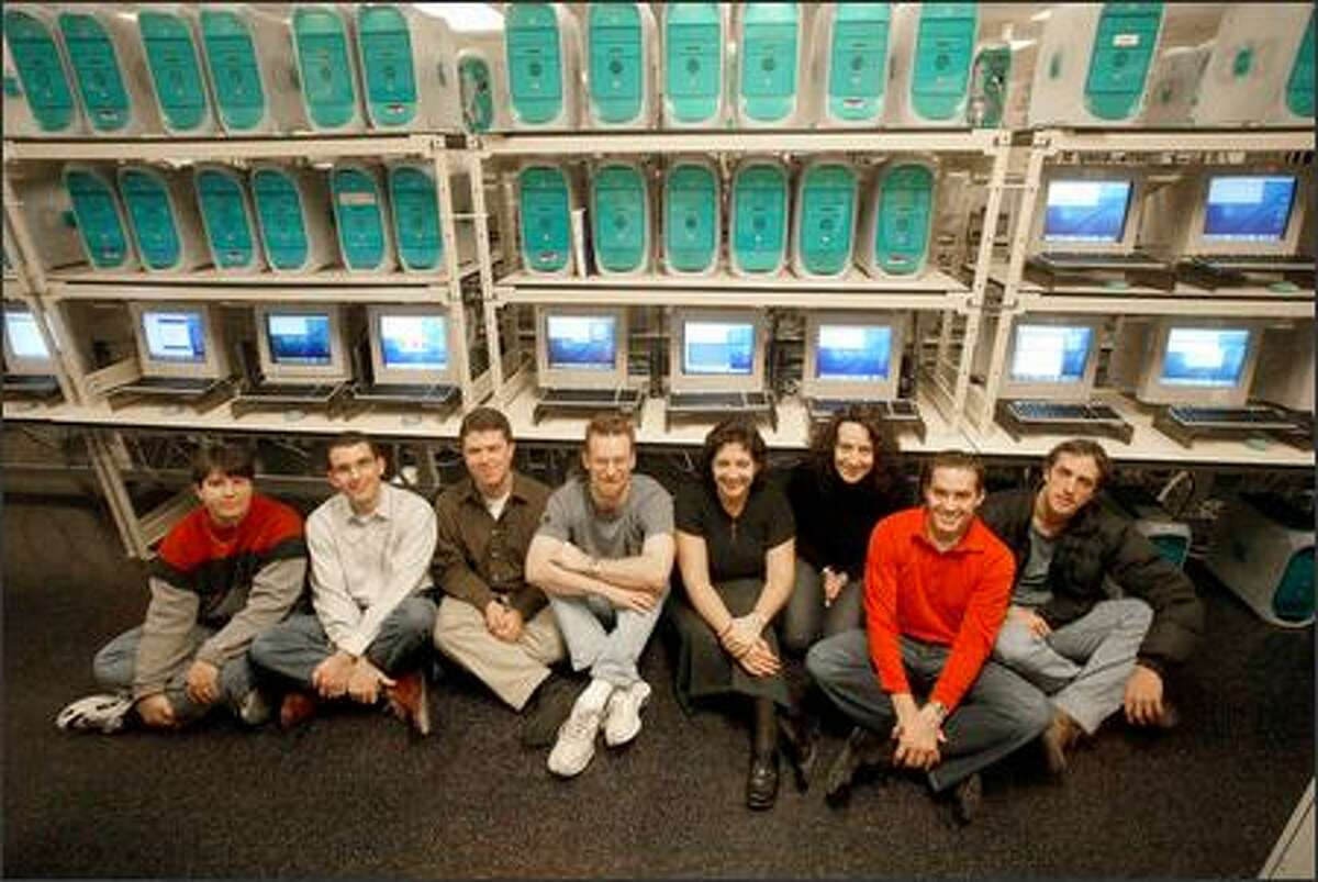 At Microsoft's Macintosh Business Unit are Lyne Brown, Tim McDonough, Jason Blankman, Brent Peterman, Mary Starman, Jennifer Cockrill, Scott Erickson and Geoff Price. Employees in the roughly 160-strong unit make Microsoft software, including Office and Virtual PC, to run on Macs.